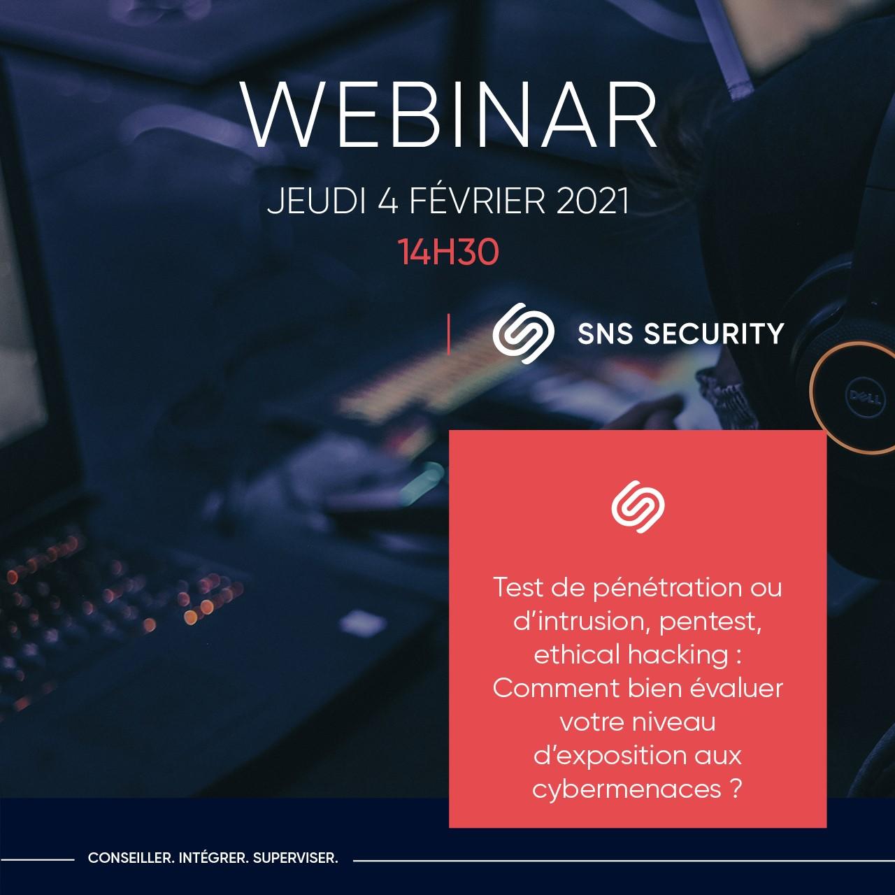webinar sns security pentest test d'intrusion ethical hacking